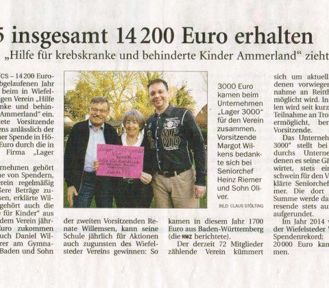 2015 insgesamt 14.200 Euro erhalten